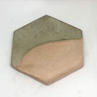 Pink and Grey Hexagon Geometric Concrete Coaster