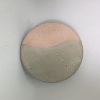 Pink and Grey Round Geometric Concrete Coaster