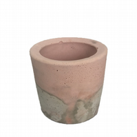 Round Marbled Pink and Grey Concrete Planters for Succulents