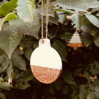 Set of 3 Concrete White and Copper Glitter Christmas Tree Bauble Decorations