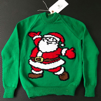 Father Christmas Green Knitted Christmas Jumper - Chest Size 28 inches