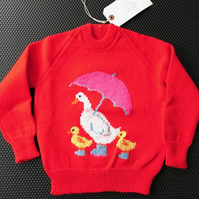Mother Duck And Her Ducklings Red Jumper - Size 24 inch chest