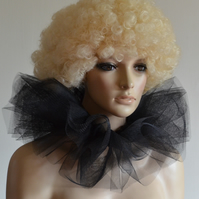 Burlesque style net collar, 2 layered clown ruff in black