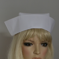PLAIN WHITE FABRIC NURSE HAT vintage style with two buttons