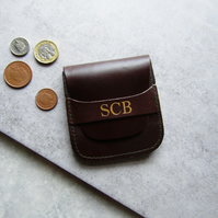 Luxury Personalised Brown Leather Coin Purse