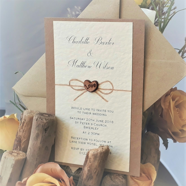 10 Rustic wedding invitations with envelopes