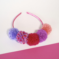Bright boho pom pom headband crown