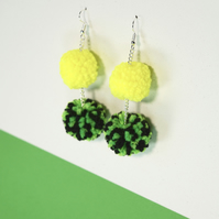 Neon pom pom dangle drop earrings