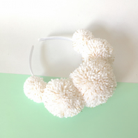White boho wedding pom pom headband crown