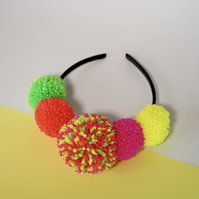 Neon pom pom festival headband crown, Pompom headpiece