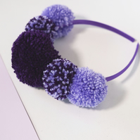 Purple and lilac festival crown, Pom pom headband