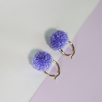Lilac tiny pom pom gold hoop earrings
