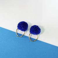 Blue hoop earrings, Festival earrings, Tiny gold hoop earrings, Pompom earrings