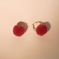 Tiny gold pompom hoop earrings