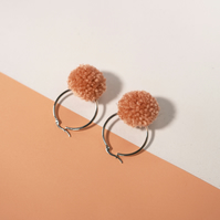Dusty pink pom pom hoop earrings, Medium pompom hoops