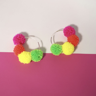 Large silver hoop earrings, Pom pom hoop earrings, Pompom earrings