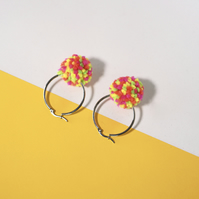 Neon pom pom hoop earrings, Tiny pompom hoops