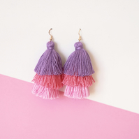 Ombre pink tassel earrings, Dangle drop earrings, Fringe tassle earrings, Summer