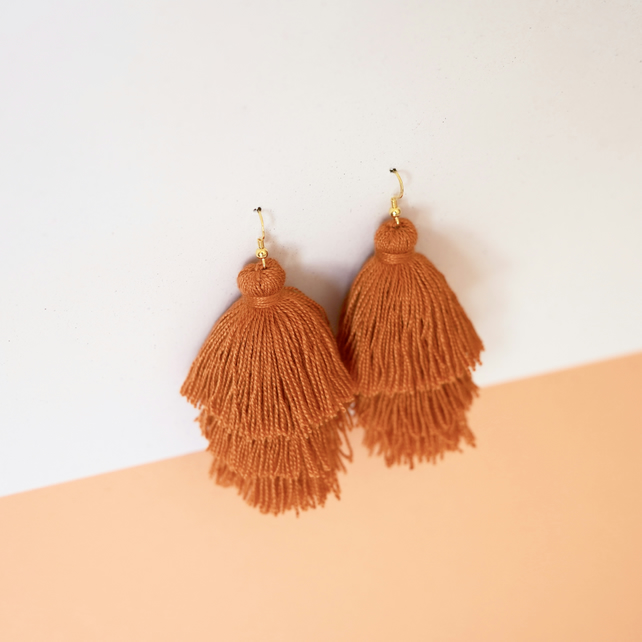 Burnt orange fringe tassle earrings, Dangly tassel earrings