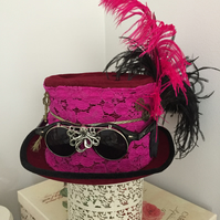 STEAMPUNK RED PINK LACE GOGGLES HAT