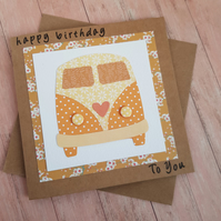 VW Campervan handcrafted birthday card