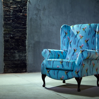 Hummingbird print Queen Anne armchair
