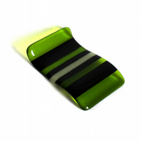 Fused glass spoon rest with green stripes