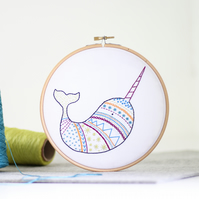Narwhal Contemporary Embroidery Kit