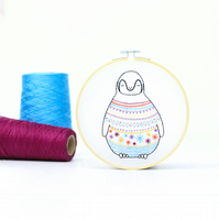 Baby Penguin Contemporary Embroidery Kit