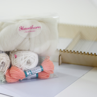Complete Weaving Kit Loom and Coral & Mint Supply Pack