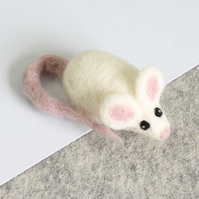 White Mouse Needle Felting Kit