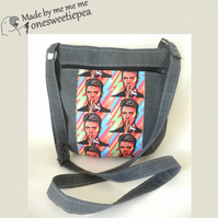 Crossbody bag with bright Bowie images