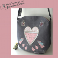 Budgie crossbody bag in grey and pink – art deco inspired design