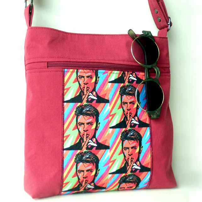 Red David Bowie crossbody bag with adjustable strap