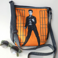 Funky orange, crossbody bag with Elvis image from Jailhouse Rock