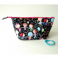Ring-a-ring o'roses wide zipped pouch, make-up bag, small and colourful