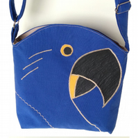 Blue crossbody bag inspired by Hyacinth Macaws