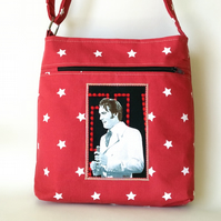 Small, Red, Crossbody Bag with Elvis Image and White Stars