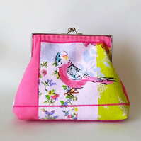 Vintage style Budgie clutch bag with detachable strap