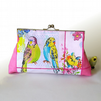 Vintage style clutch bag, with blue and green budgies, birds and flowers