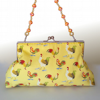 Vintage style clutch bag, yellow with chickens and detachable strap