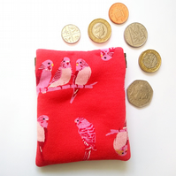 Red budgie coin purse, earbud pouch