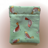 Pale green birdie coin purse or earbud pouch