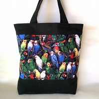 Multicoloured parrots tote bag with red lining