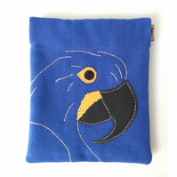 Hyacinth Macaw purse, small make-up bag, with flex frame
