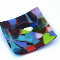 Beautiful Multicoloured Fused Glass Plate for Decoration or Serving Use
