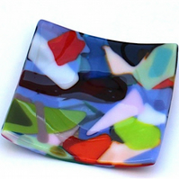 Multicoloured Handmade Fused Glass Plate for Serving or Decoration