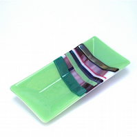 Individual Rectangular Stunning Fused Glass Green Plate