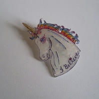Sparkly Rainbow Unicorn Brooch Pin - Shrink Plastic Pin - Multi Coloured - Magic