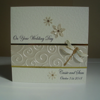 Sparkly Dragonfly Wedding Congratulations Card - Ivory and Gold - Personalised